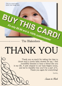 check out our exclusive baby shower host thank you card on etsy