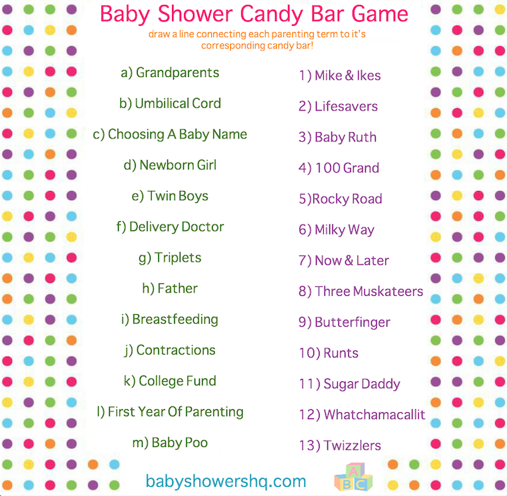 Baby Shower Candy Bar Game Printable Pdf File Answer Key Included